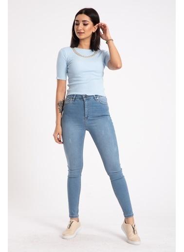 Madame Sare  Kadın Zincirli Crop Mavi Bluz Mavi